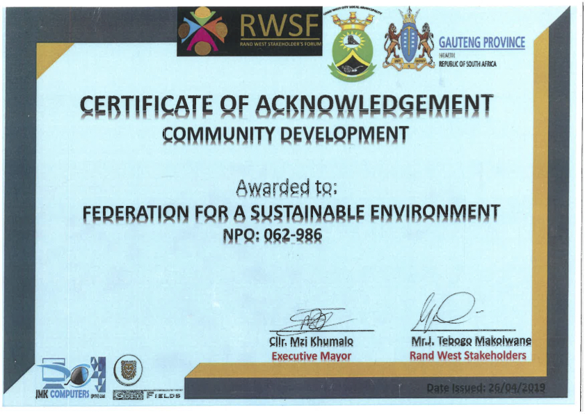 The FSE recently received an Award for Community Development from the Department of Health (Gauteng Province) and Rand West Municipality