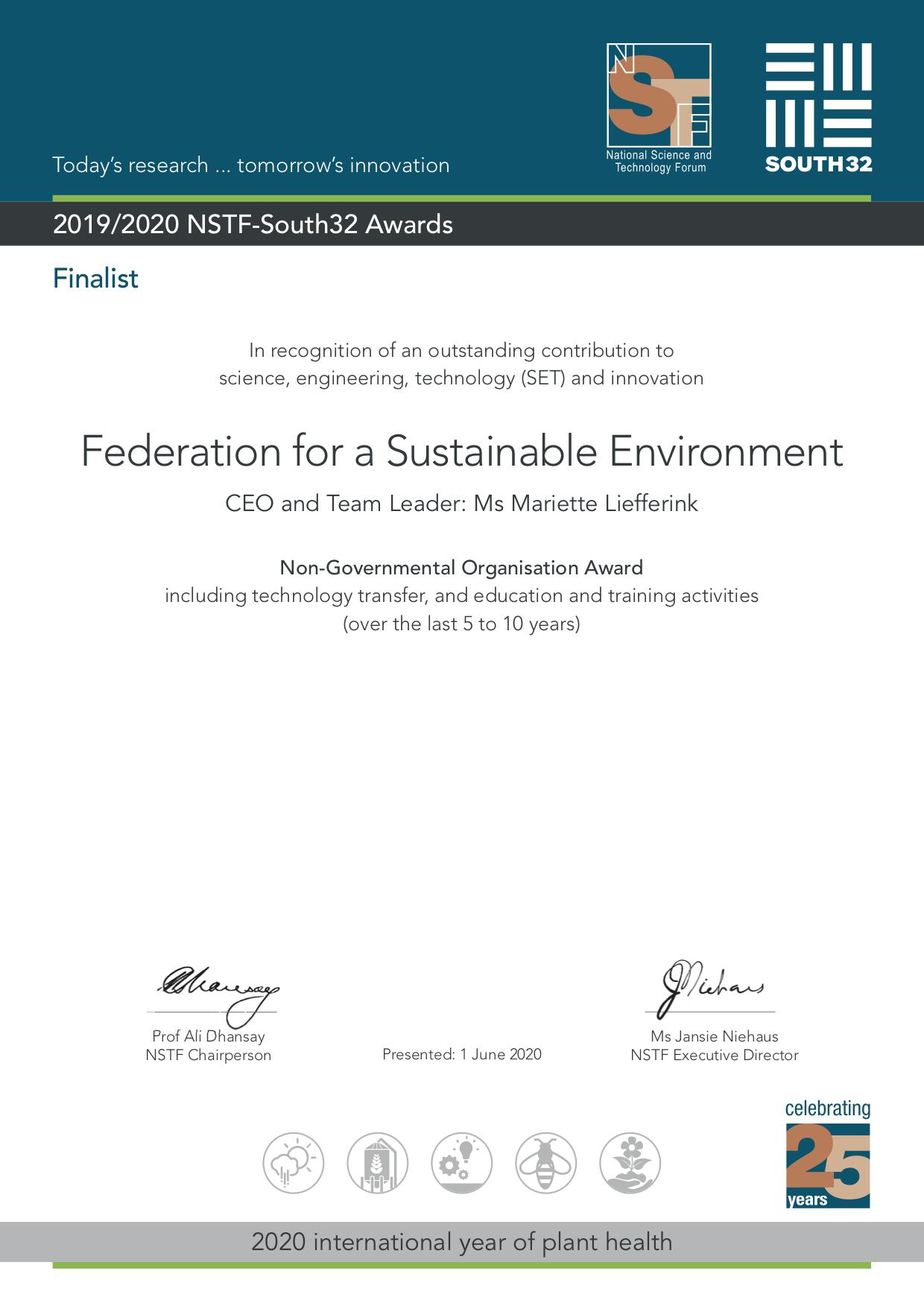 FSE- Finalist: 2019/2020 NSTF-South32 Awards